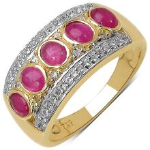 14K Yellow Gold Plated 1.81 Carat Genuine Ruby & White Topaz .925 Streling Silver Ring
