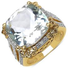 14K Yellow Gold Plated 8.24 Carat Genuine Amethyst & White Topaz .925 Streling Silver Ring