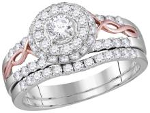 14kt Two-tone Gold Womens Natural Diamond Round EGL Bridal Wedding Engagement Ring Band Set 1.00 Cttw