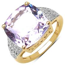 14K Yellow Gold Plated 10.35 Carat Genuine Amethyst & White Topaz .925 Streling Silver Ring