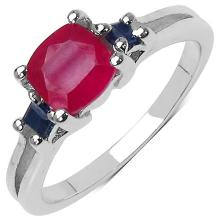 1.77 Carat Genuine Ruby & Sapphire .925 Streling Silver Ring