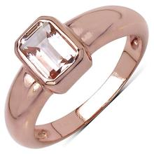 14K Rose Gold Plated 0.80 Carat Genuine Morganite .925 Streling Silver Ring