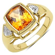 14K Yellow Gold Plated 2.61 Carat Genuine Citrine & White Topaz .925 Streling Silver Ring