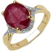 14K Yellow Gold Plated 3.05 Carat Genuine Ruby .925 Streling Silver Ring