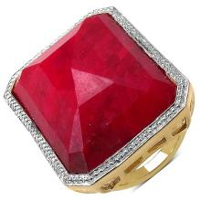 14K Yellow Gold Plated 45.70 Carat Genuine Ruby .925 Streling Silver Ring