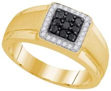 10kt Yellow Gold Mens Round Black Colored Diamond Square Cluster Fashion Ring 3/8 Cttw