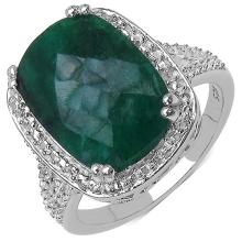 5.75 Carat Genuine Emerald .925 Sterling Silver Ring