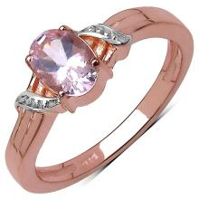 14K Rose Gold Plated 0.85 Carat Genuine Morganite .925 Streling Silver Ring
