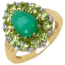 14K Yellow Gold Plated 4.20 Carat Genuine Crysopharse, Peridot & White Topaz .925 Streling Silver Ring