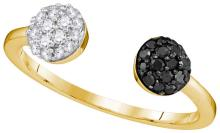 10kt Yellow Gold Womens Round Black Colored Diamond Band Cluster Ring 1/3 Cttw