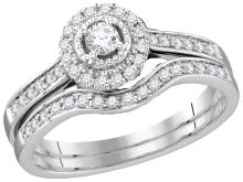 10kt White Gold Womens Natural Diamond Round Bridal Wedding Engagement Ring Band Set 1/3 Cttw
