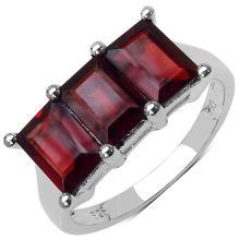 3.60 Carat Genuine Garnet .925 Sterling Silver Ring