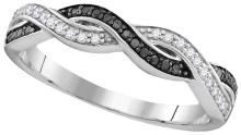 Sterling Silver Womens Round Black Colored Diamond Woven Fashion Band Ring 1/6 Cttw