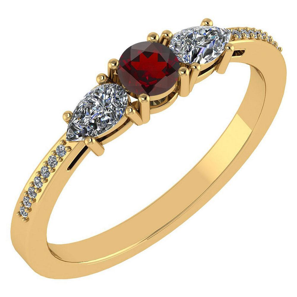 Certified 0.77 Ctw Garnet And Diamond 14k Yellow Gold Halo Ring VS/SI1