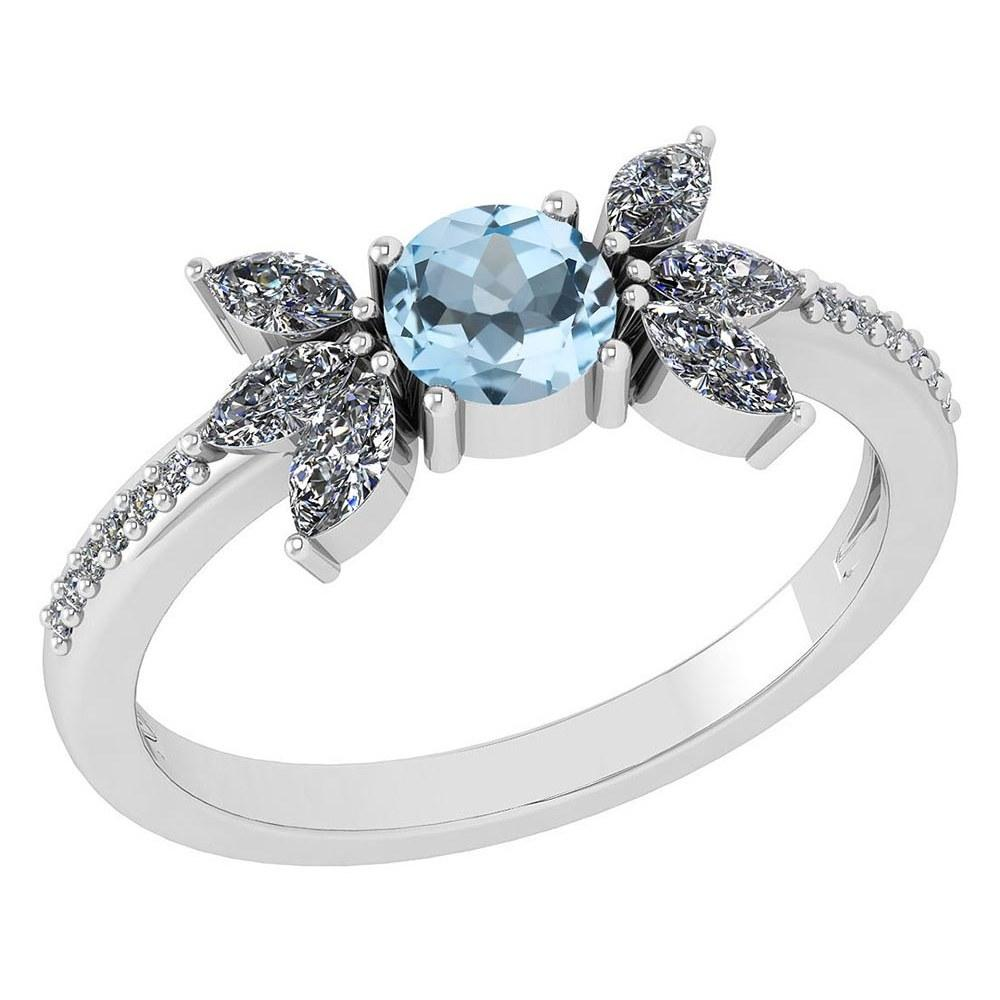 Certified 1.11 Ctw Aquamarine And Diamond 14k White Gold Halo Ring