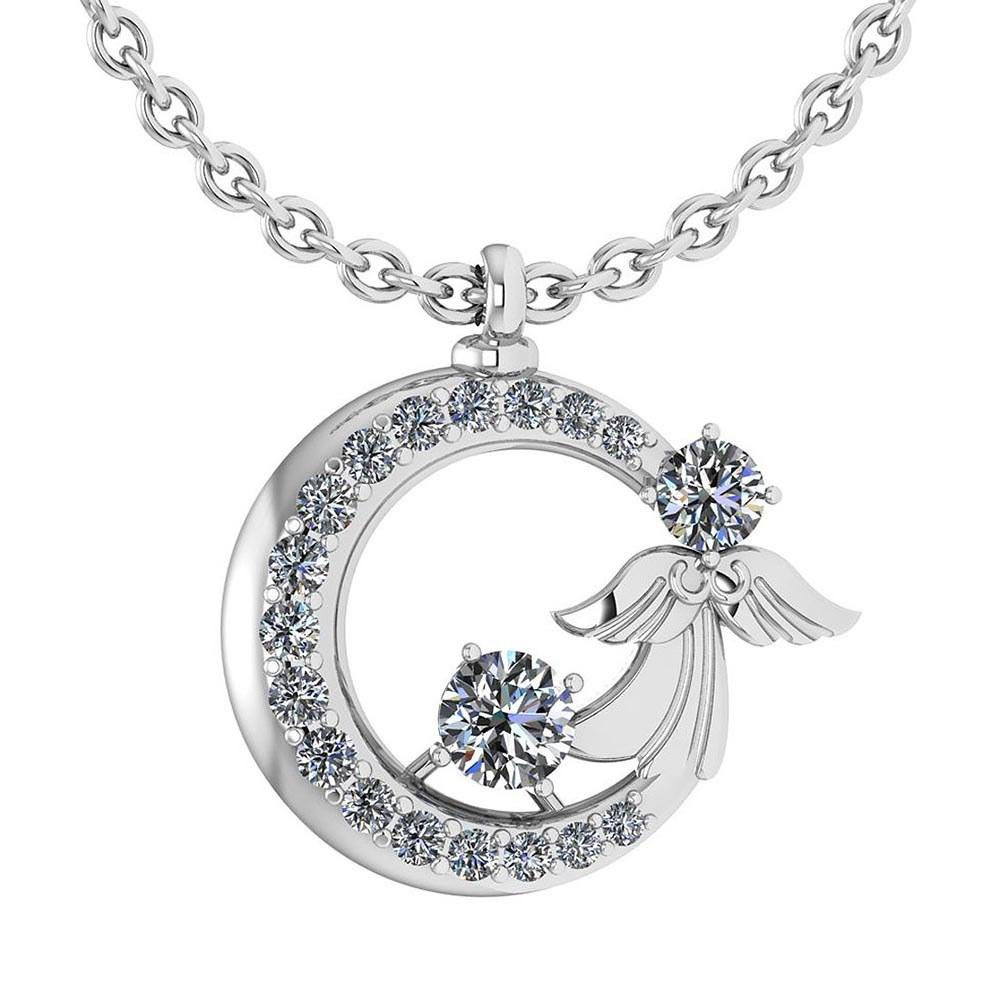 Certified 1.14 Ctw Diamond Tiny Angel Necklace For womens New Expressions love collection 14K White Gold (VS/SI1)