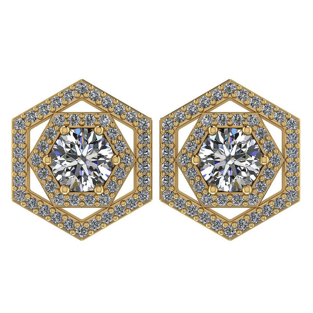 Certified 1.38 Ctw Diamond 14k Yellow Gold Halo Stud Earrings