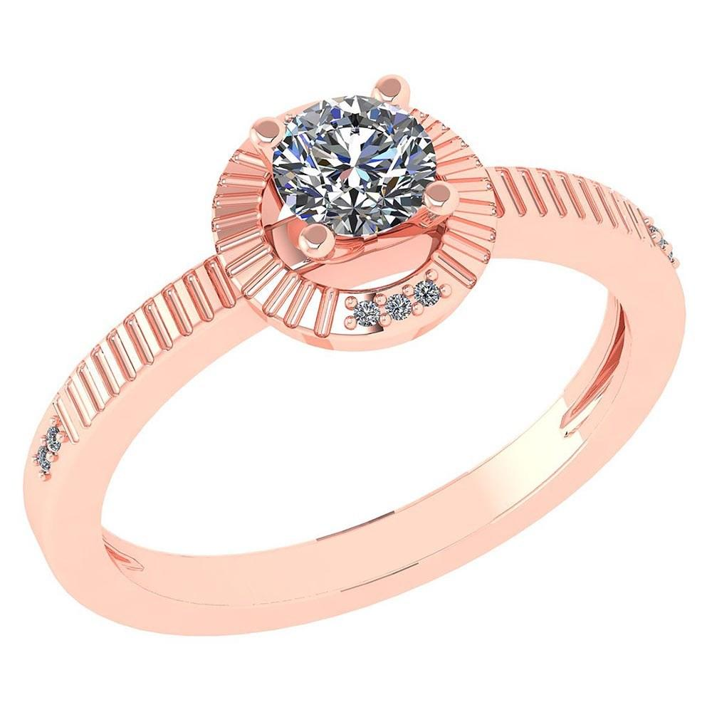 Certified 0.37 CTW Diamond 14k Rose Gold Halo Ring