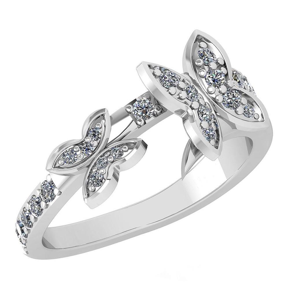 Certified 0.33 Ctw Diamond Halo Ring For womens New Expressions of Butterfly collection 14K White Gold
