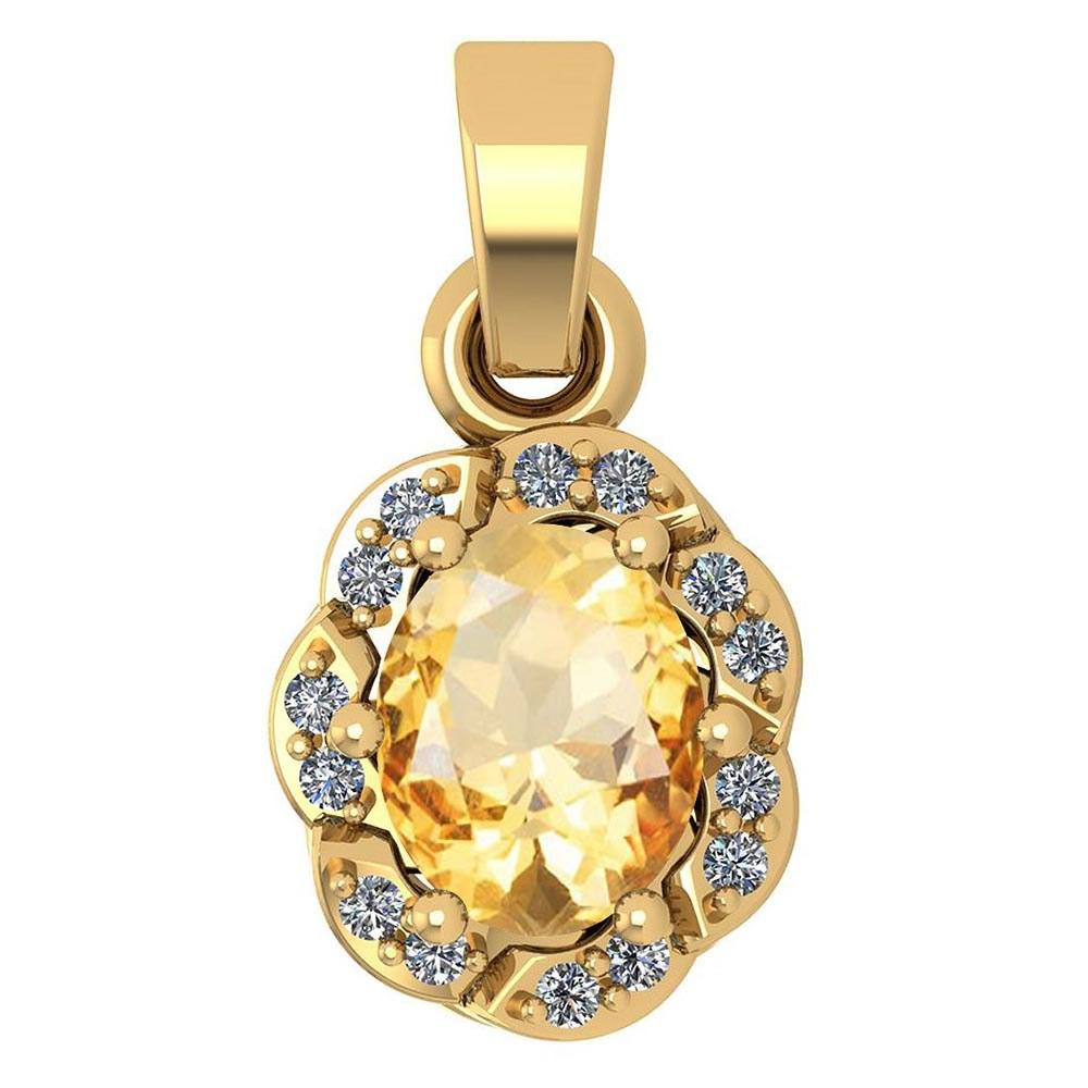 Certified 0.38 Ctw Citrine And Diamond 14k Yellow Gold Simple Pendant