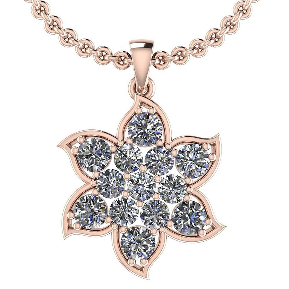 Certified 1.72 Ctw Diamond I1/I2 14K Rose Gold Pendant Necklace