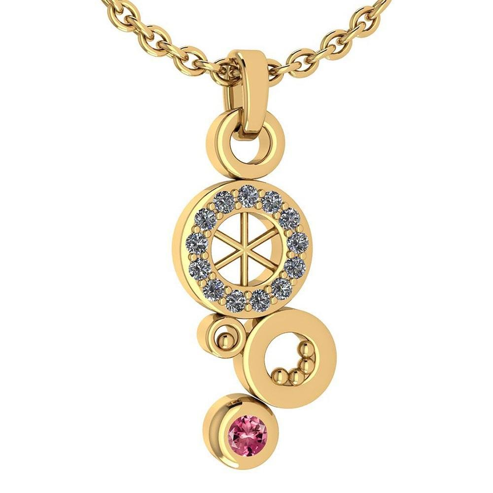 Certified 0.26 Ctw Pink Tourmaline And Diamond Octopus Styles Pendant For womens New Expressions nautical collection 14K Yellow Gold
