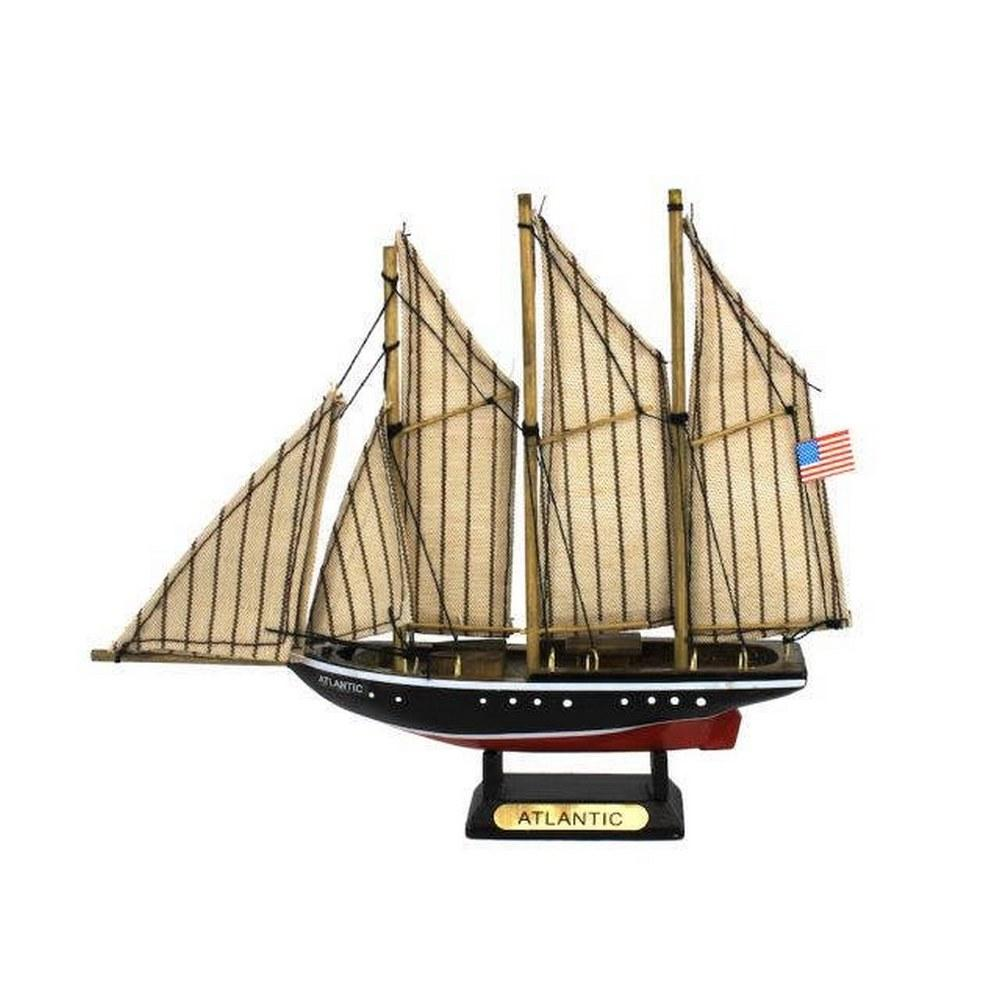 Wooden Atlantic Model Sailboat Decoration 7in.