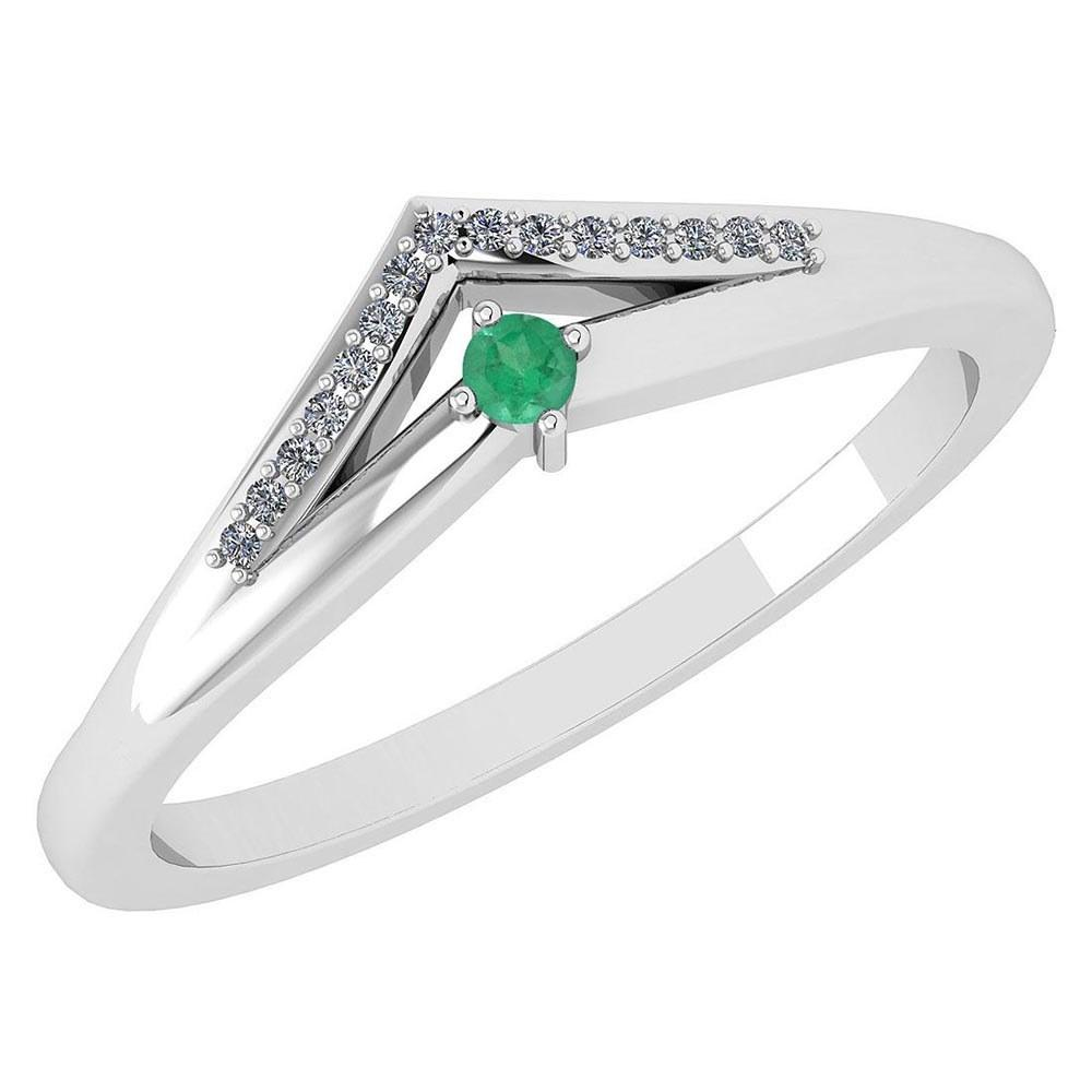 Certified 0.07 Ctw Emerald And Diamond 14k White Gold Halo Ring VS/SI1