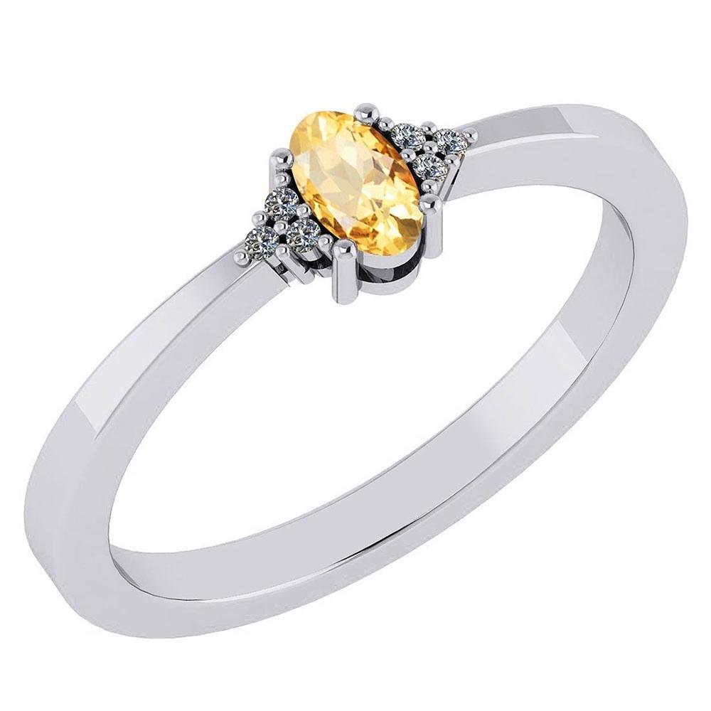 Certified 0.24 Ctw Citrine And Diamond 18K White Gold Halo Ring