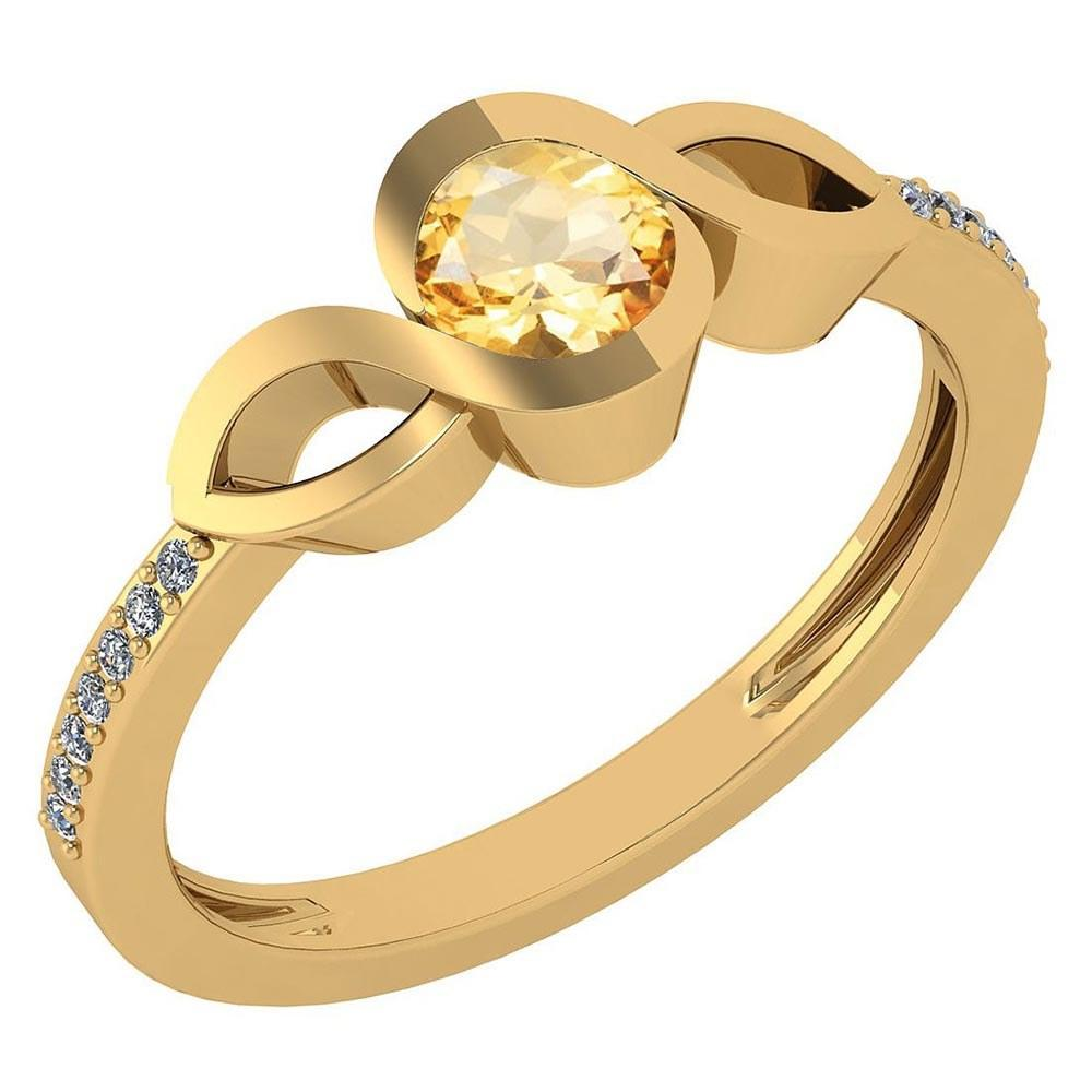 Certified 0.52 Ctw Citrine And Diamond 14k Yellow Gold Ring