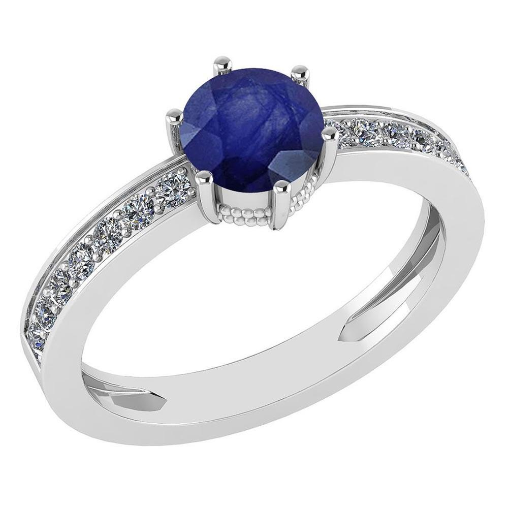 Certified 1.09 Ctw Blue Sapphire And Diamond VS/SI1 Halo Ring 14k White Gold Made In USA