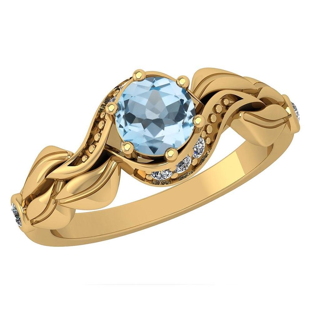 Certified 0.78 Ctw Blue Topaz And Diamond Wedding/Engagement Style 14K Yellow Gold Halo Ring (VS/SI1)