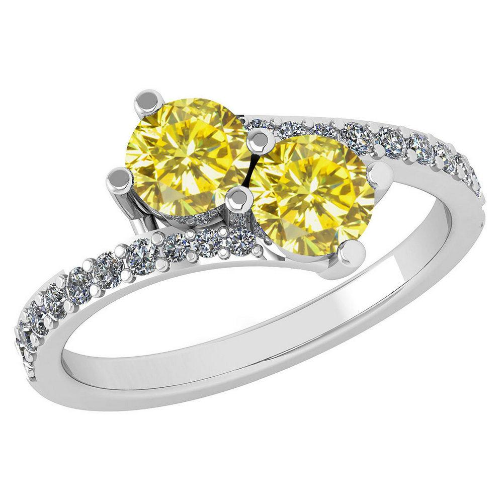 Certified 1.24 Ctw Treated Fancy Yellow Diamond And White Diamond Wedding/Engagement Style 14k White Gold Halo Ring (I1/I2)