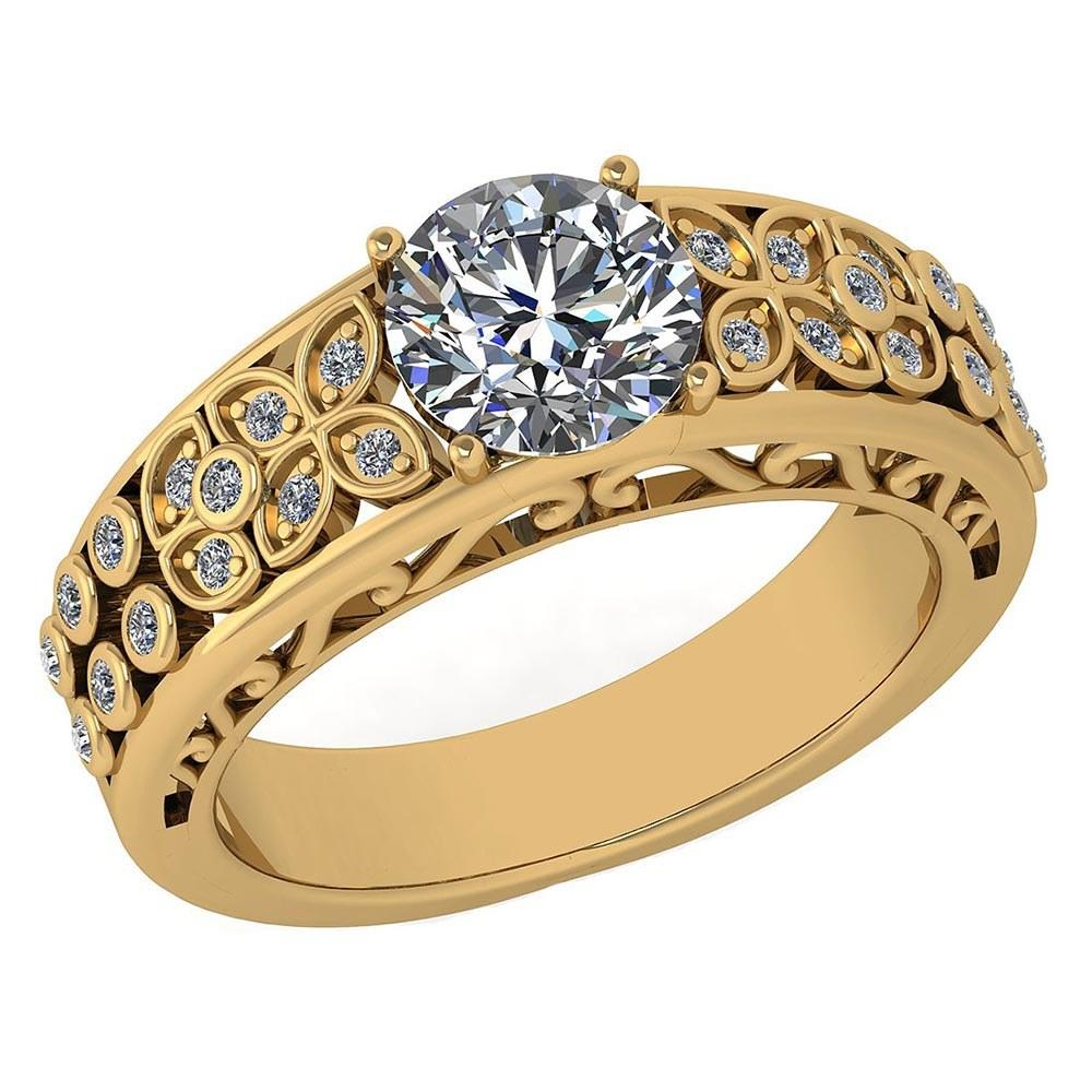 Certified 1.45 Ctw Diamond Engagement /Wedding 14K Yellow Gold Promise Ring