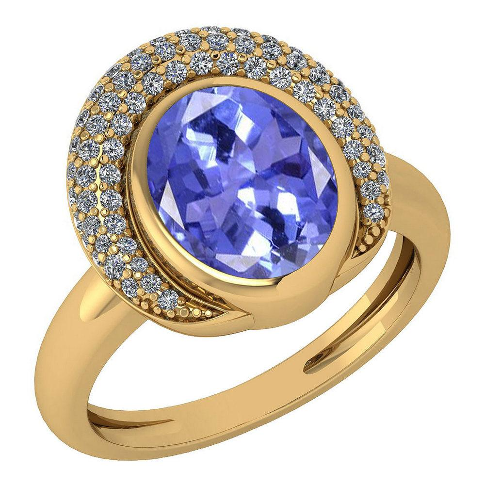 Certified 2.82 Ctw Tanzanite And Diamond VS/SI1 Halo Ring 14k Yellow Gold Made In USA