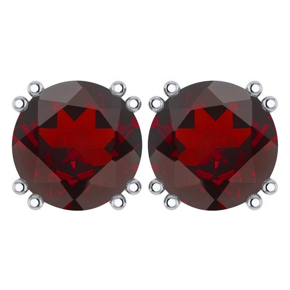 Certified 6.00 Ctw Genuine Garnet 14K White Gold Stud Earrings Made In USA