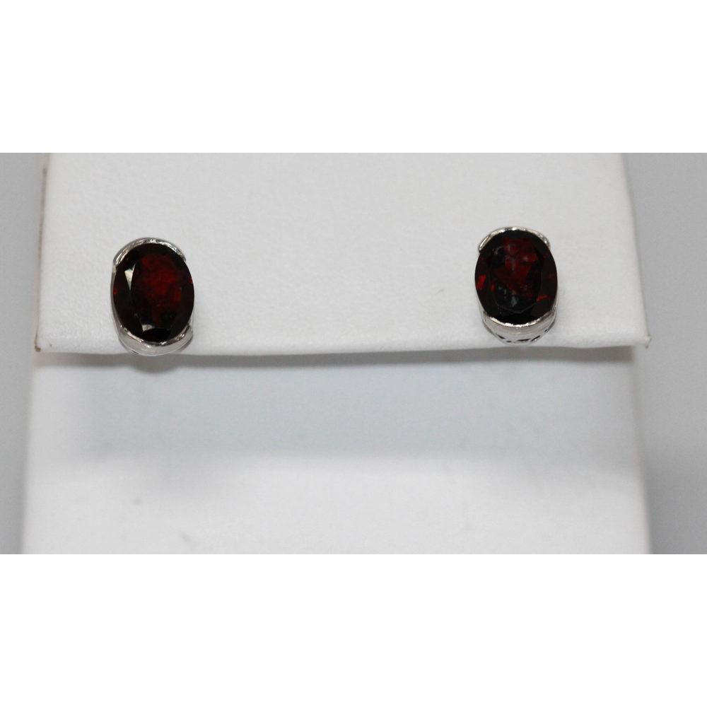 3.74 CTW GARNET EARRINGS .925 STERLING SILVER