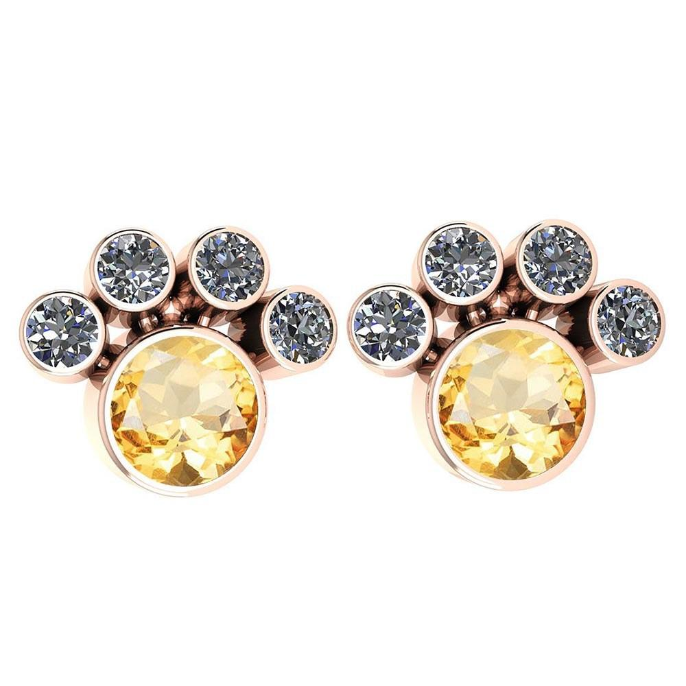 Certified 15.50 Ctw Citrine And Diamond SI2/I1 Earrings 14K Rose Gold Made In USA