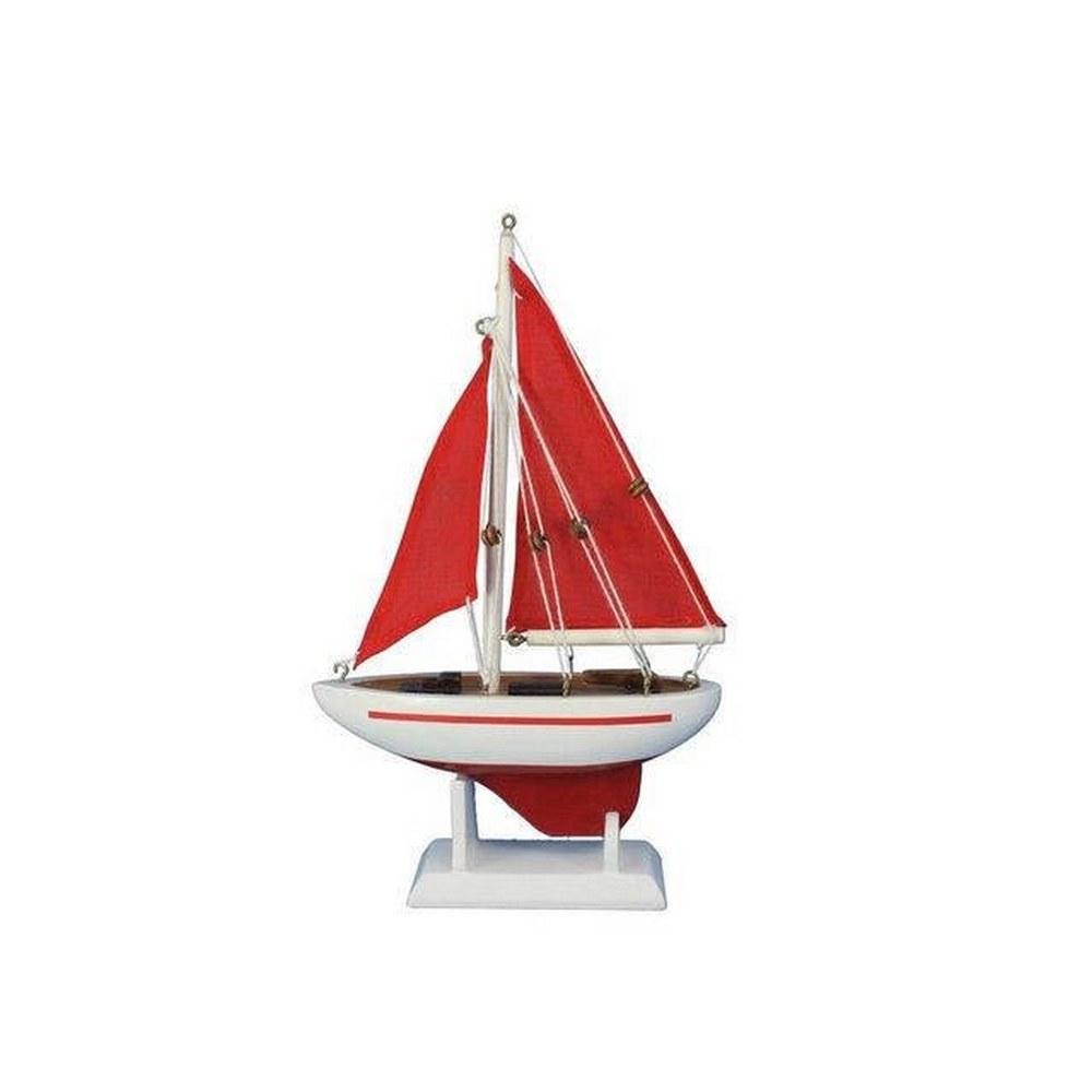 Wooden Red Pacific Sailer with Red Sails Model Sailboat Decoration 9in.