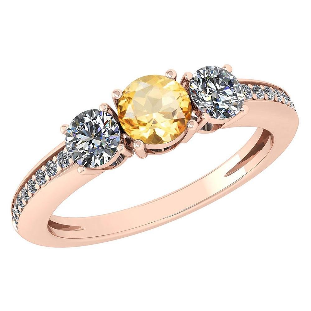 Certified 1.06 Ctw Citrine And Diamond Wedding/Engagement Style 14k Rose Gold Halo Rings (VS/SI1)