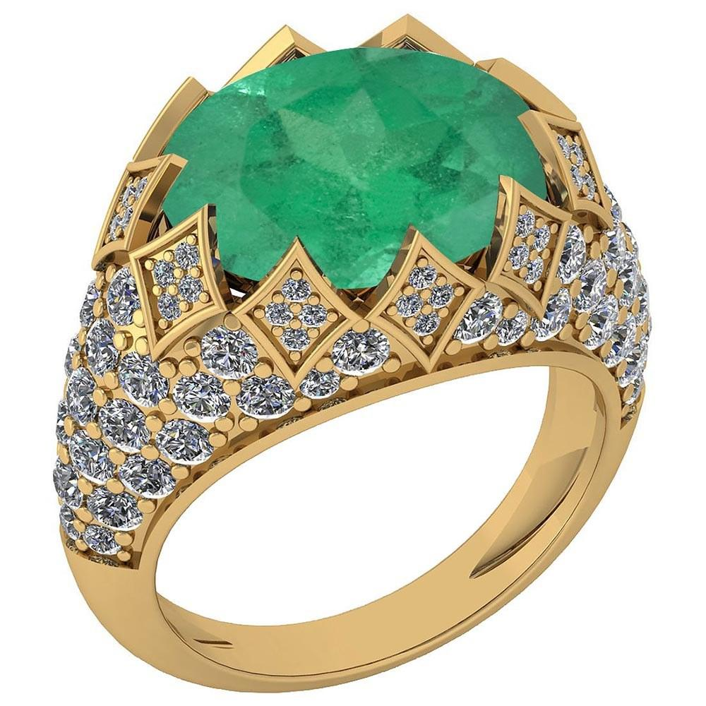 Certified 7.81 Ctw Emerald And Diamond VS/SI1 Unique Engagement Ring 14K Yellow Gold Made In USA