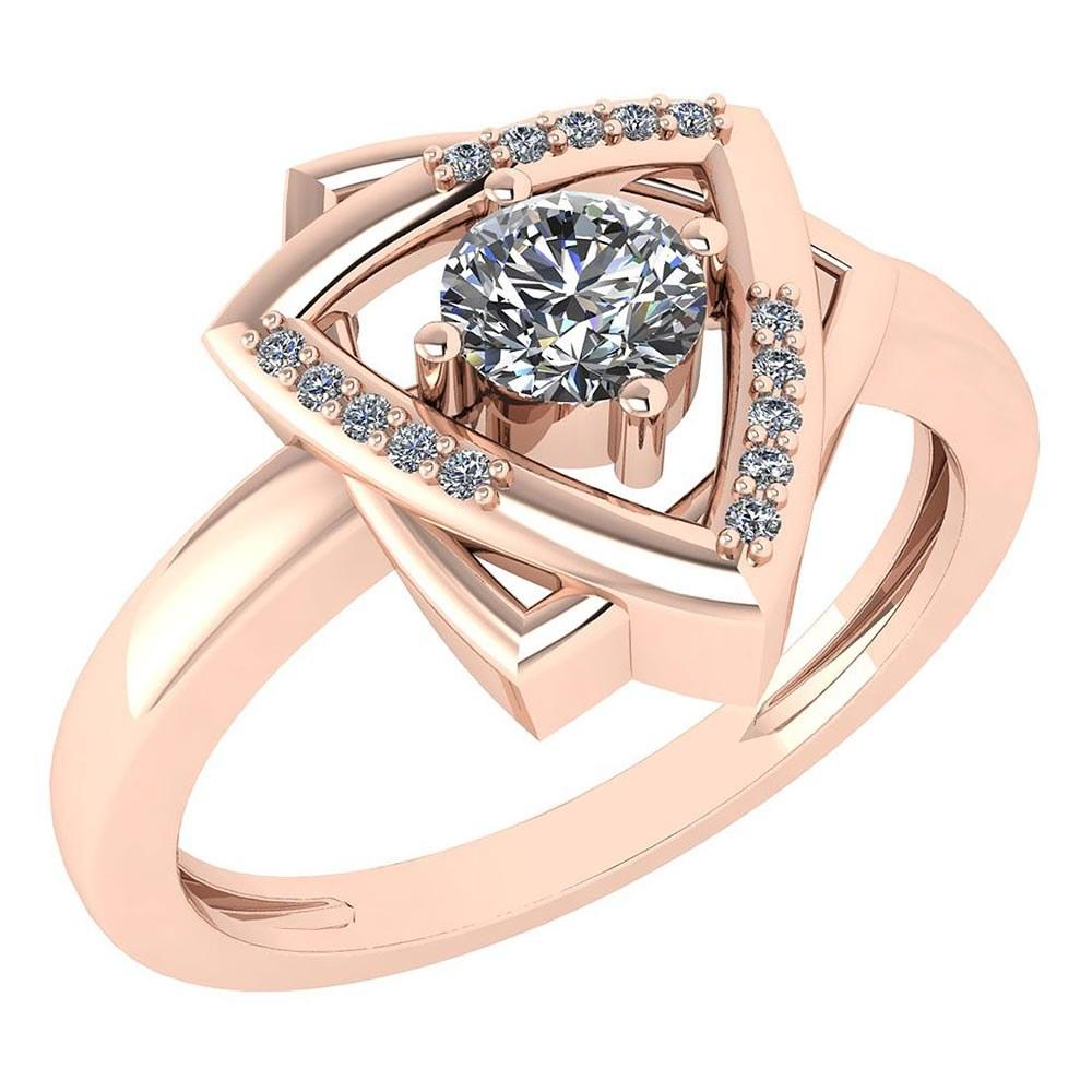 Certified 0.27 Ctw Diamond Wedding/Engagement Style 14K Rose Gold Halo Ring (SI2/I1)