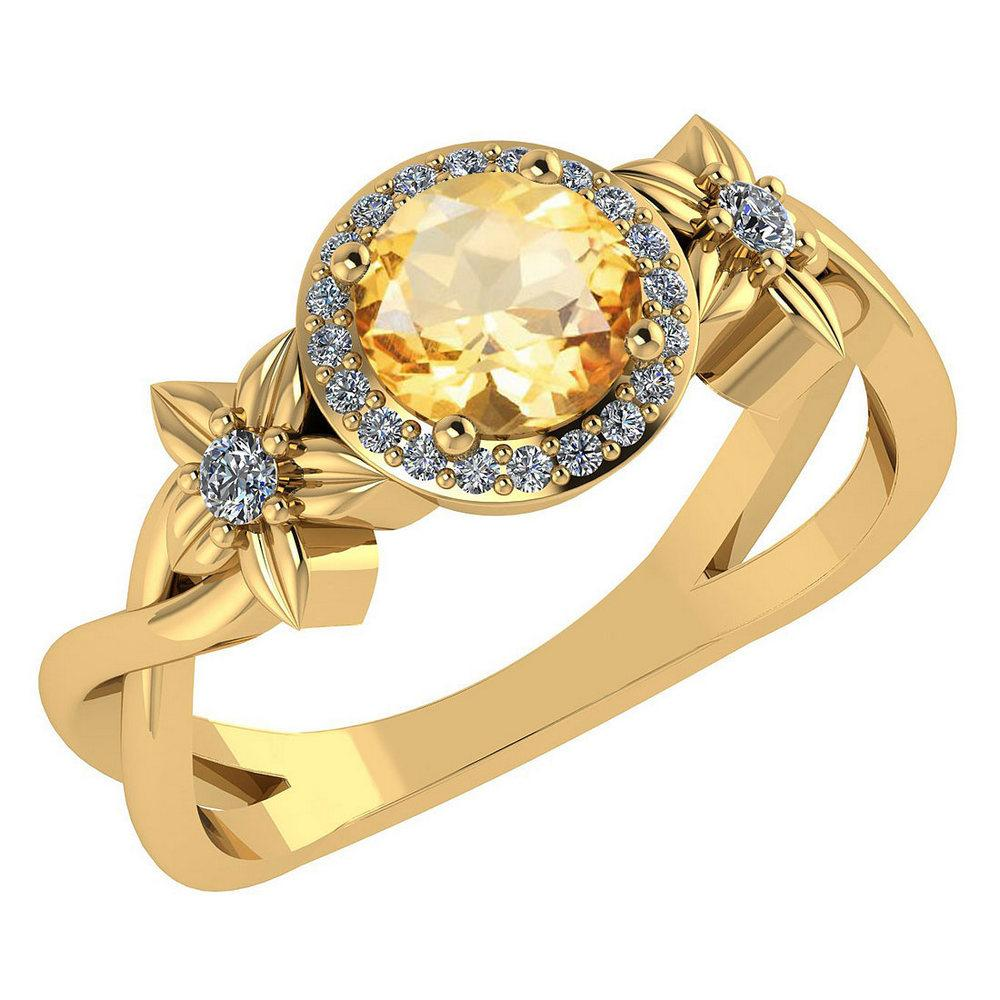 Certified 1.00 Ctw Citrine And Diamond 14k Yellow Halo Gold Ring (VS/SI1)