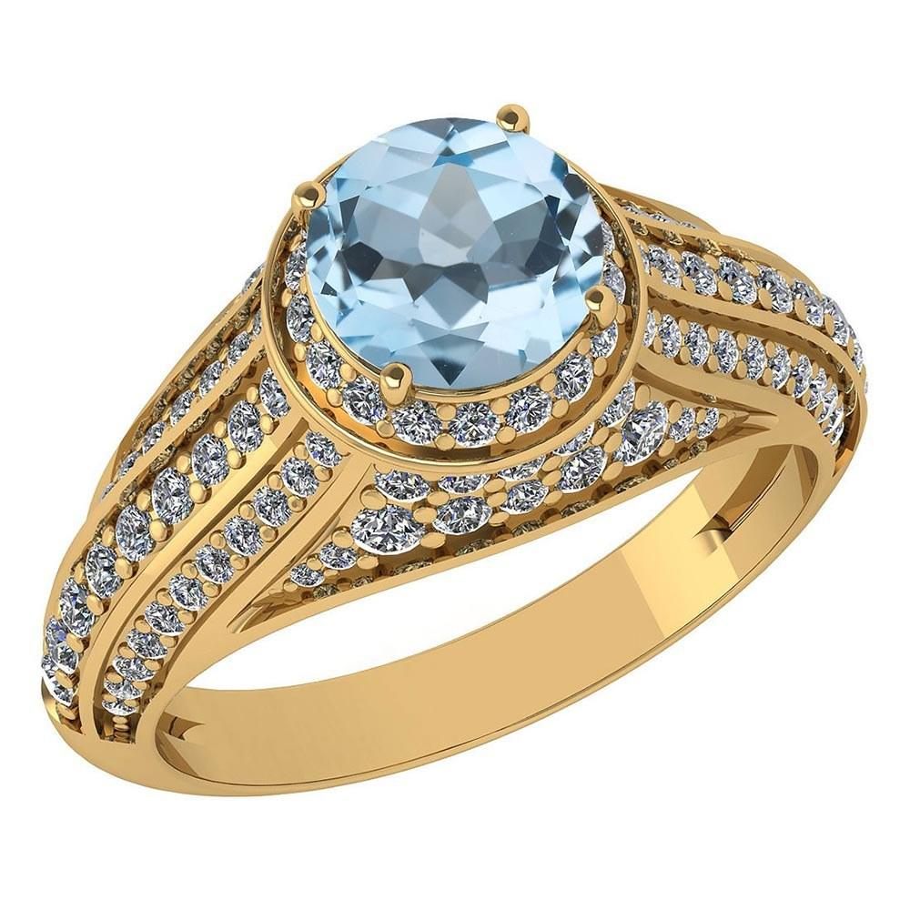 Certified 2.30 Ctw Aquamrine And Diamond Wedding/Engagement 14K Yellow Gold Halo Ring (VS/SI1) MADE IN USA