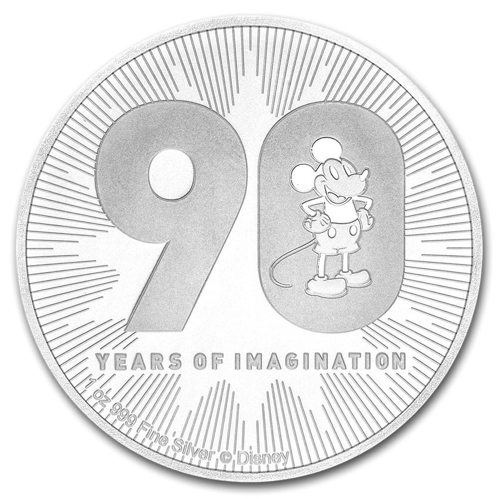 2018 Niue 1 oz Silver $2 Disney Mickeys 90th Anniversary BU