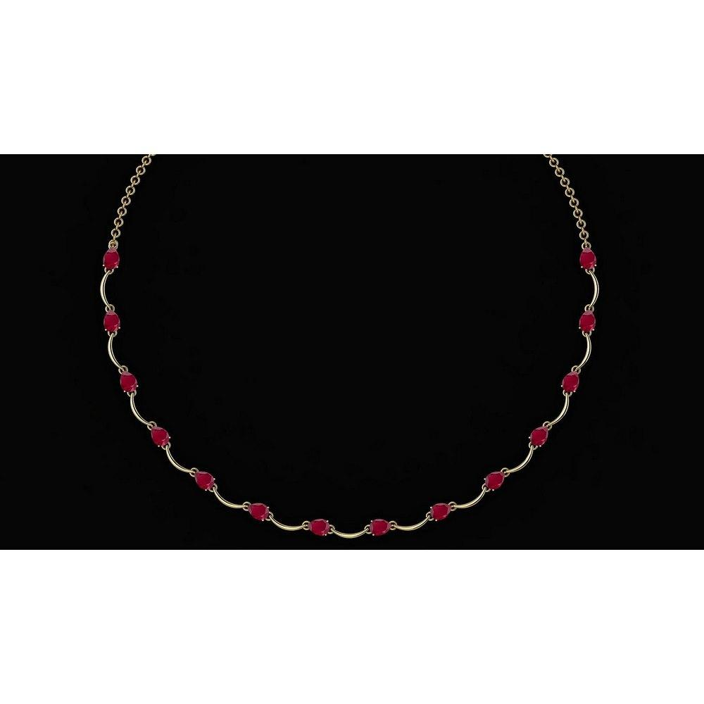 Certified 10.05 Ctw Ruby Necklace 14K Yellow Gold