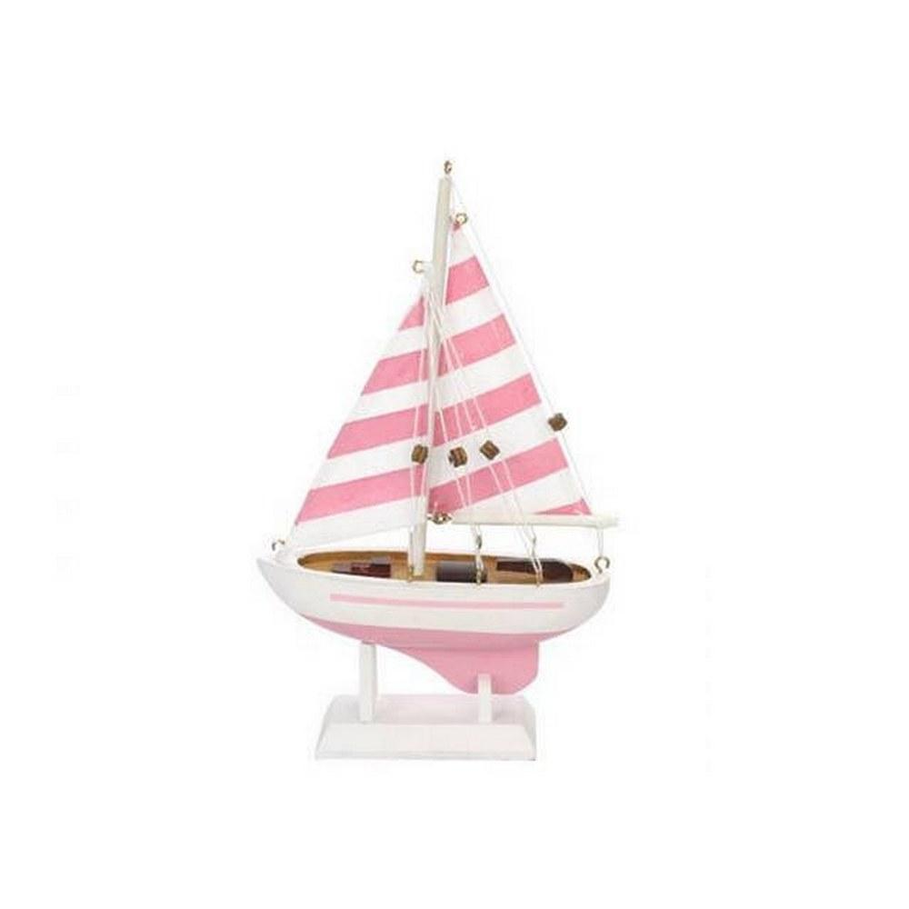 Wooden Pretty in Pink Model Sailboat 9in.