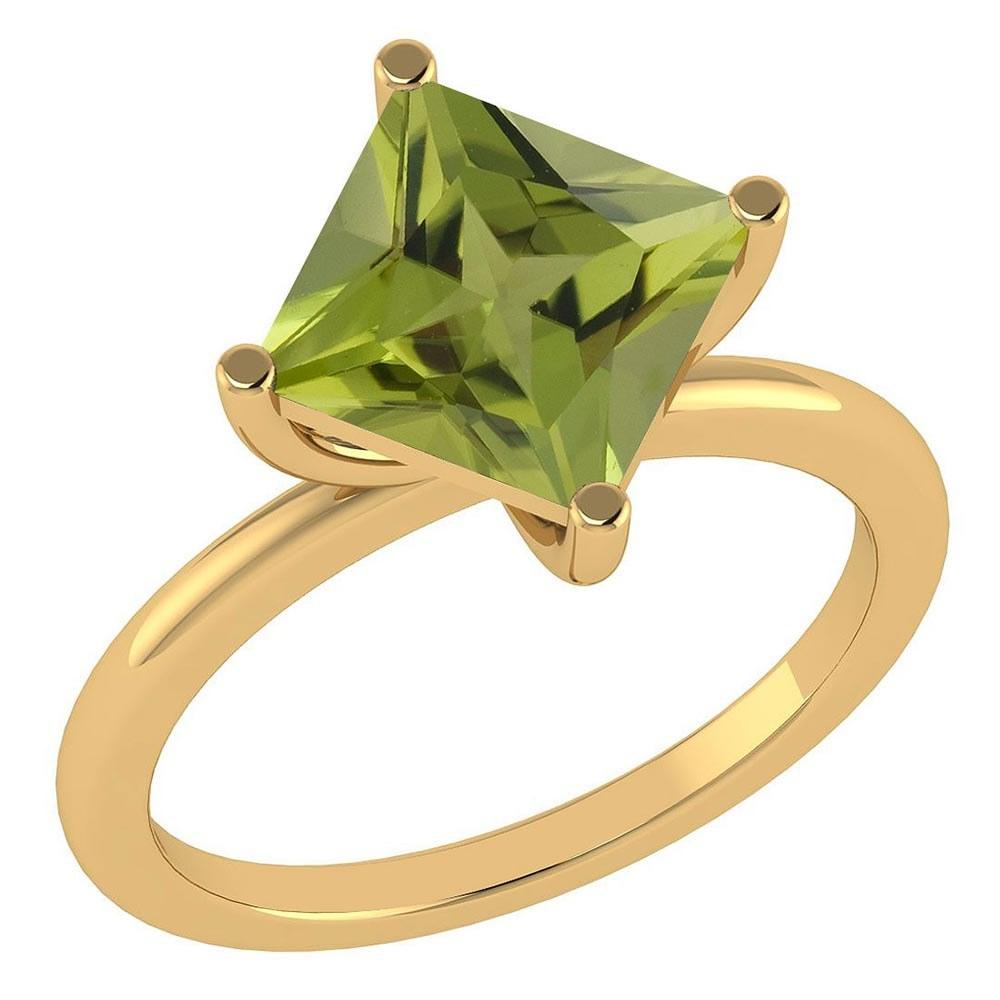 Certified 3.00 Ctw Peridot 14K Yellow Gold Solitaire Ring Made In USA
