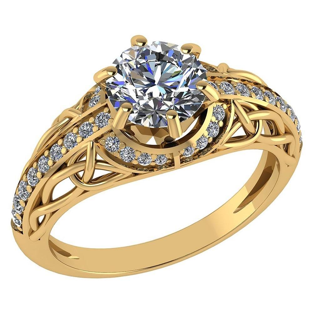 Certified 1.43 Ctw Diamond Halo Ring For Engagement New Expressions love collection 14K Yellow Gold (SI2/I1)