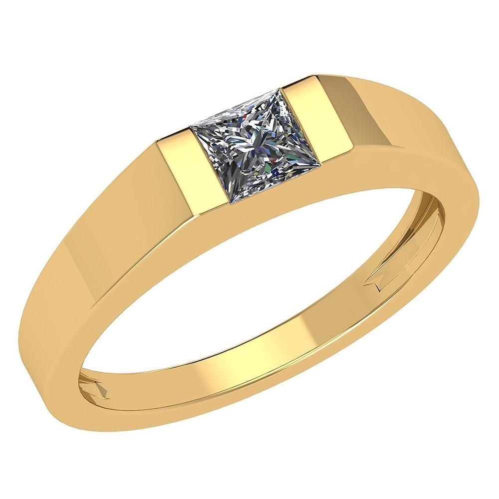 Certified 0.35 Ctw Diamond 18K Yellow Gold Halo Mens Ring